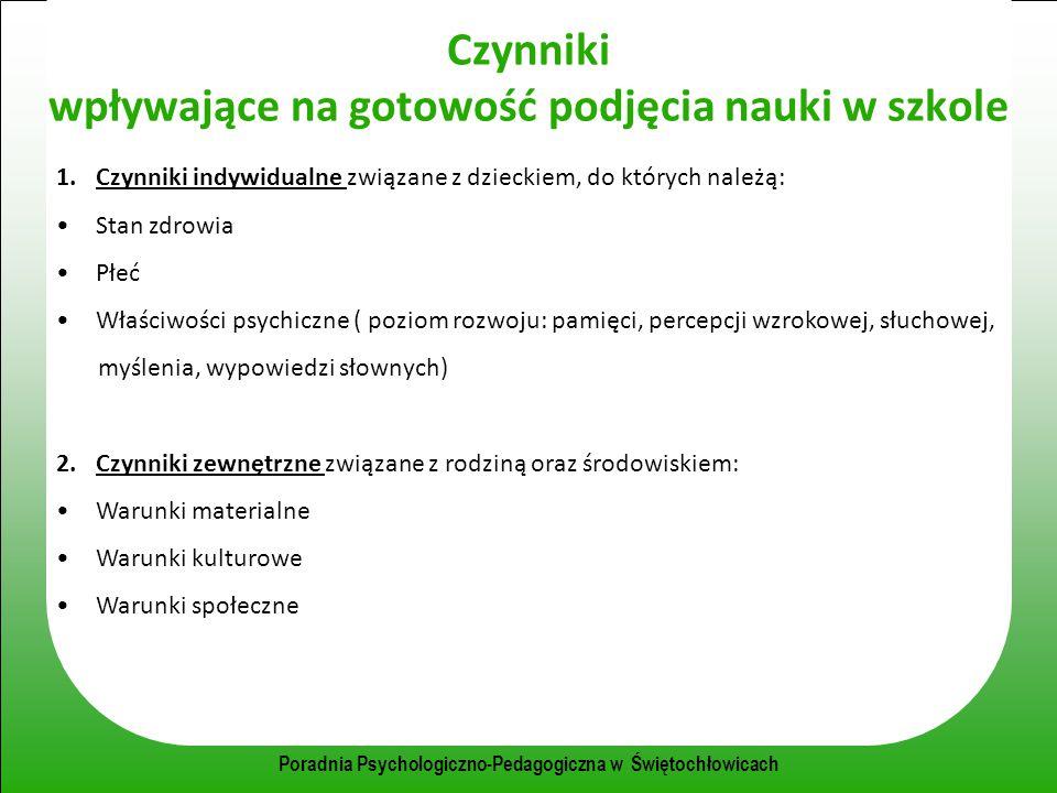 Poradnia Psychologiczno-Pedagogiczna w Świętochłowicach Czynniki wpływające na gotowość podjęcia nauki w szkole 1.Czynniki indywidualne związane z dzi