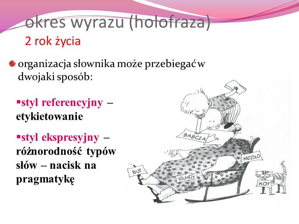 okres wyrazu (holofraza) 2 rok życia organizacja słownika może przebiegać w dwojaki sposób:  styl referencyjny – etykietowanie  styl ekspresyjny – r