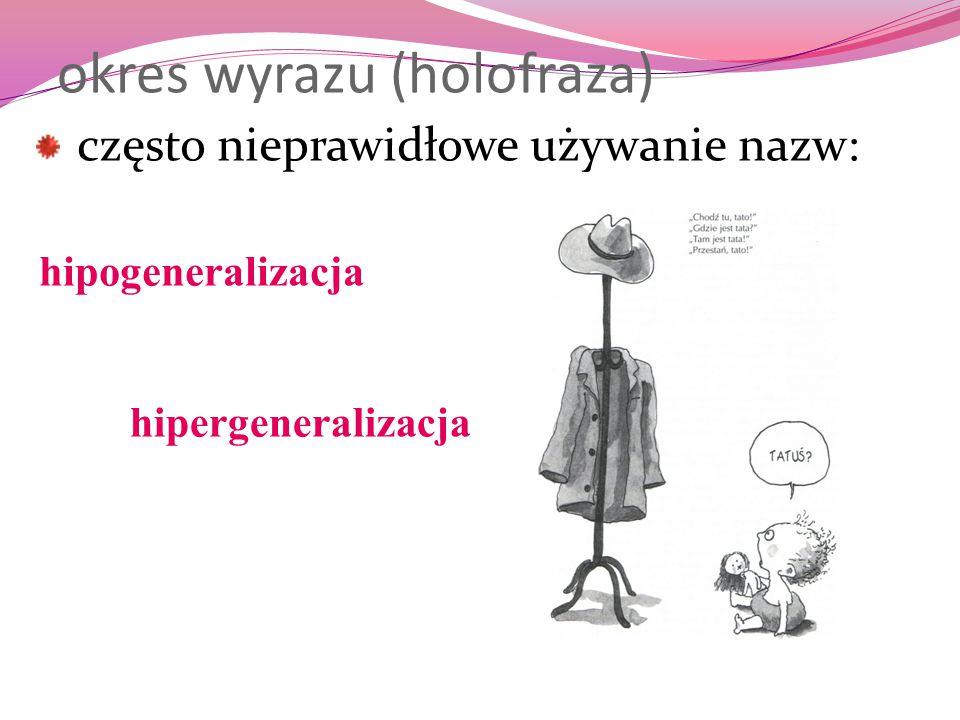 okres wyrazu (holofraza) często nieprawidłowe używanie nazw: hipergeneralizacja hipogeneralizacja