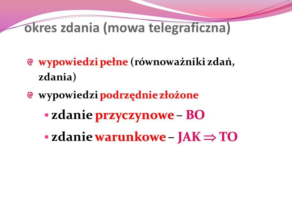 okres zdania (mowa telegraficzna) wypowiedzi pełne wypowiedzi pełne (równoważniki zdań, zdania) podrzędnie złożone wypowiedzi podrzędnie złożone przyc