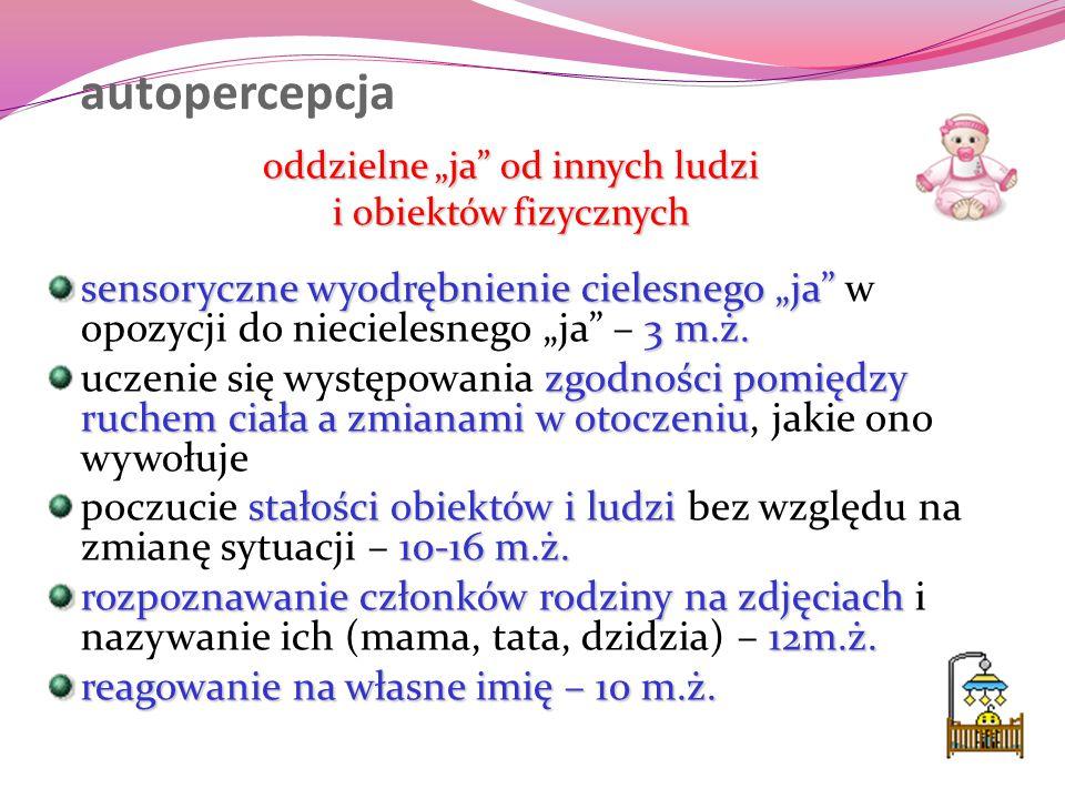"""autopercepcja oddzielne """"ja"""" od innych ludzi i obiektów fizycznych sensoryczne wyodrębnienie cielesnego """"ja"""" 3 m.ż. sensoryczne wyodrębnienie cielesne"""