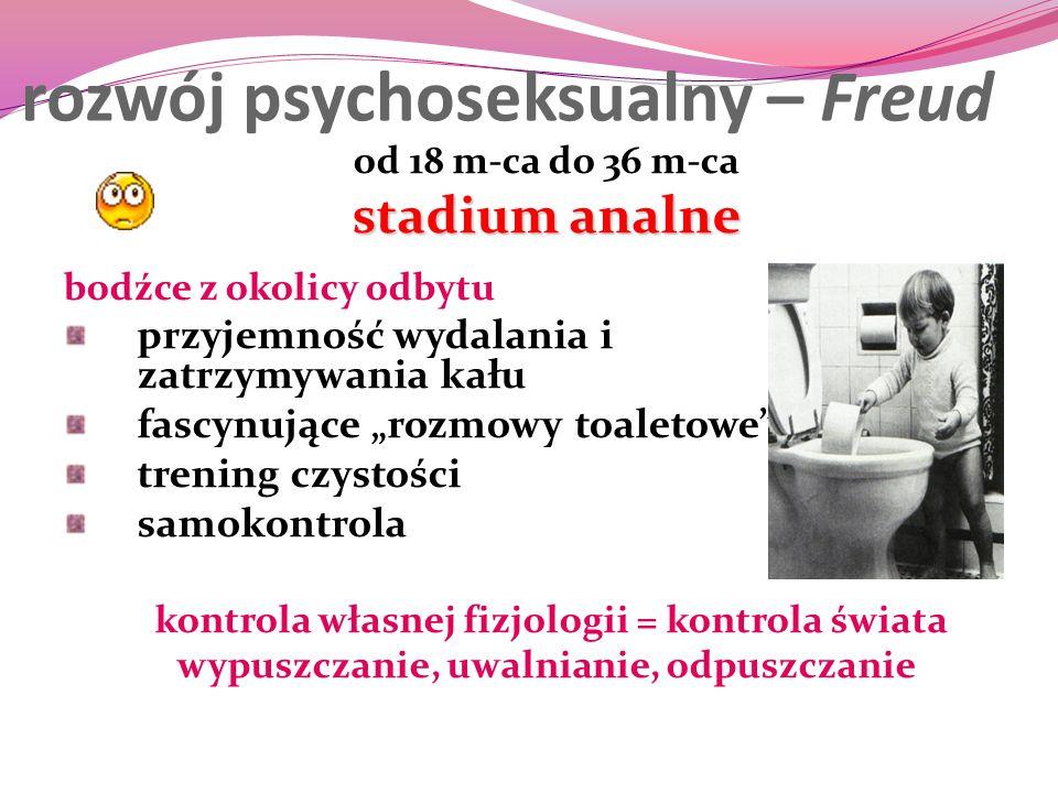 """rozwój psychoseksualny – Freud od 18 m-ca do 36 m-ca stadium analne bodźce z okolicy odbytu przyjemność wydalania i zatrzymywania kału fascynujące """"ro"""