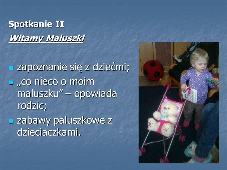 """Spotkanie II Witamy Maluszki zapoznanie się z dziećmi; zapoznanie się z dziećmi; """"co nieco o moim maluszku"""" – opowiada rodzic; """"co nieco o moim malusz"""