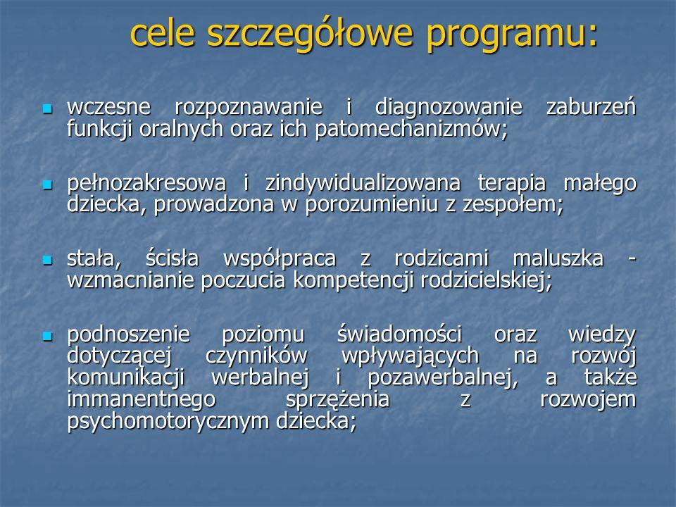 cele szczegółowe programu: wczesne rozpoznawanie i diagnozowanie zaburzeń funkcji oralnych oraz ich patomechanizmów; wczesne rozpoznawanie i diagnozow