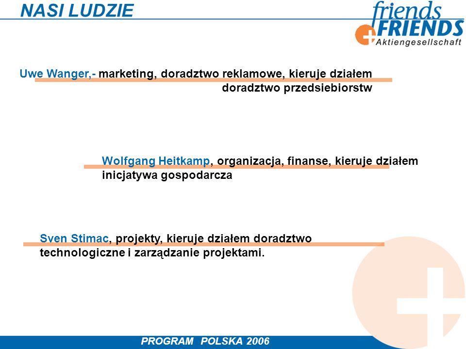 PROGRAM POLSKA 2006 NASI LUDZIE Uwe Wanger,- marketing, doradztwo reklamowe, kieruje działem doradztwo przedsiebiorstw Wolfgang Heitkamp, organizacja,