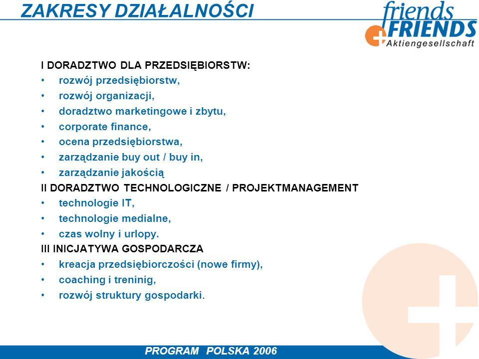 PROGRAM POLSKA 2006 ZAKRESY DZIAŁALNOŚCI I DORADZTWO DLA PRZEDSIĘBIORSTW: rozwój przedsiębiorstw, rozwój organizacji, doradztwo marketingowe i zbytu,