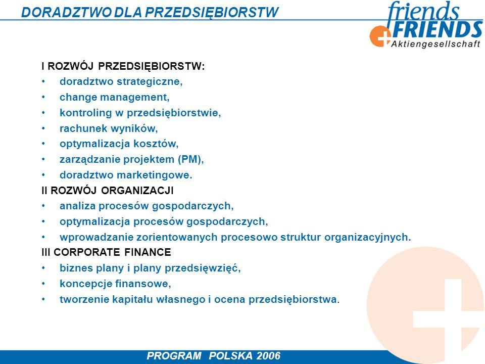 PROGRAM POLSKA 2006 DORADZTWO DLA PRZEDSIĘBIORSTW I ROZWÓJ PRZEDSIĘBIORSTW: doradztwo strategiczne, change management, kontroling w przedsiębiorstwie,