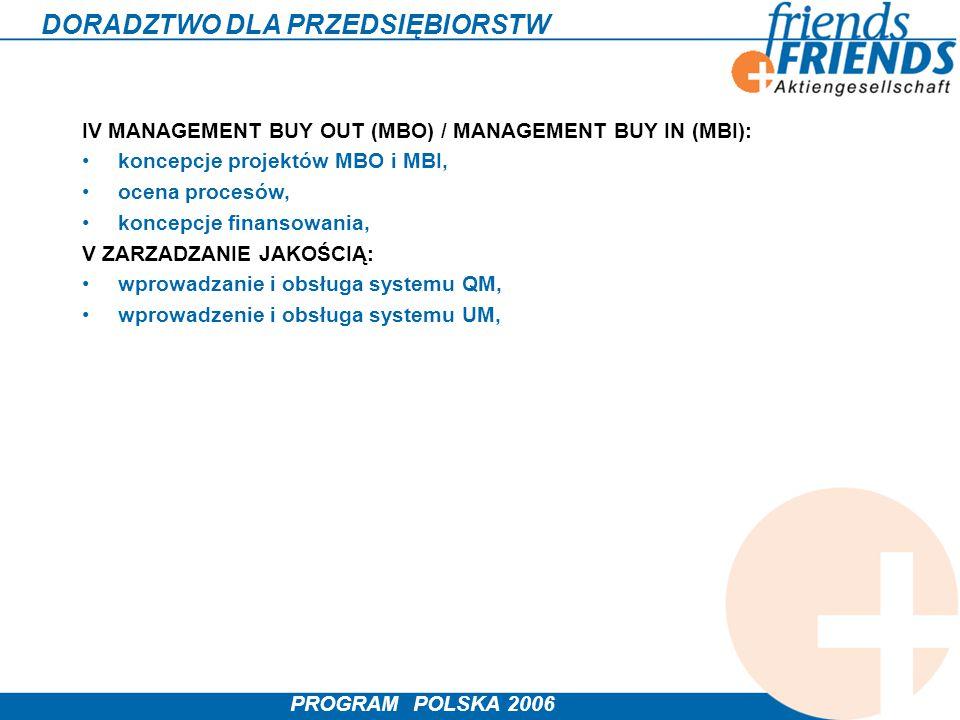PROGRAM POLSKA 2006 DORADZTWO DLA PRZEDSIĘBIORSTW IV MANAGEMENT BUY OUT (MBO) / MANAGEMENT BUY IN (MBI): koncepcje projektów MBO i MBI, ocena procesów