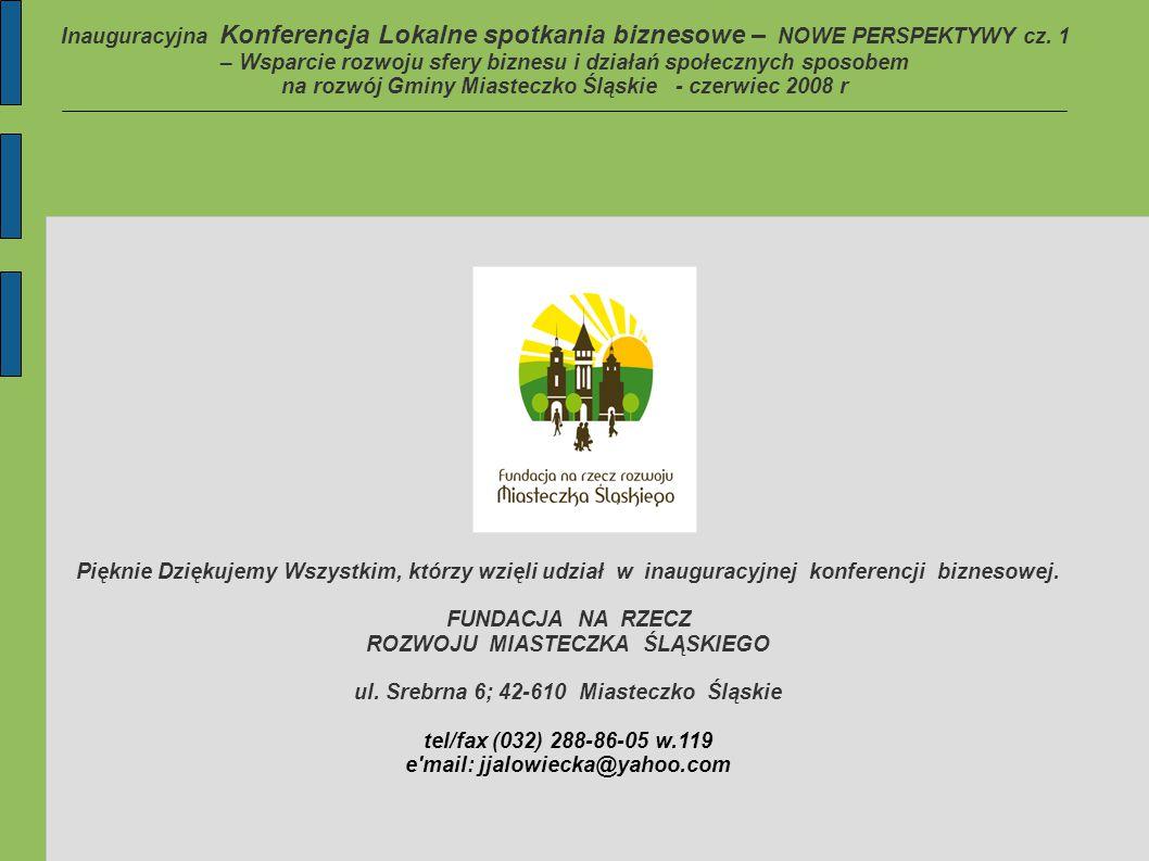 Inauguracyjna Konferencja Lokalne spotkania biznesowe – NOWE PERSPEKTYWY cz.