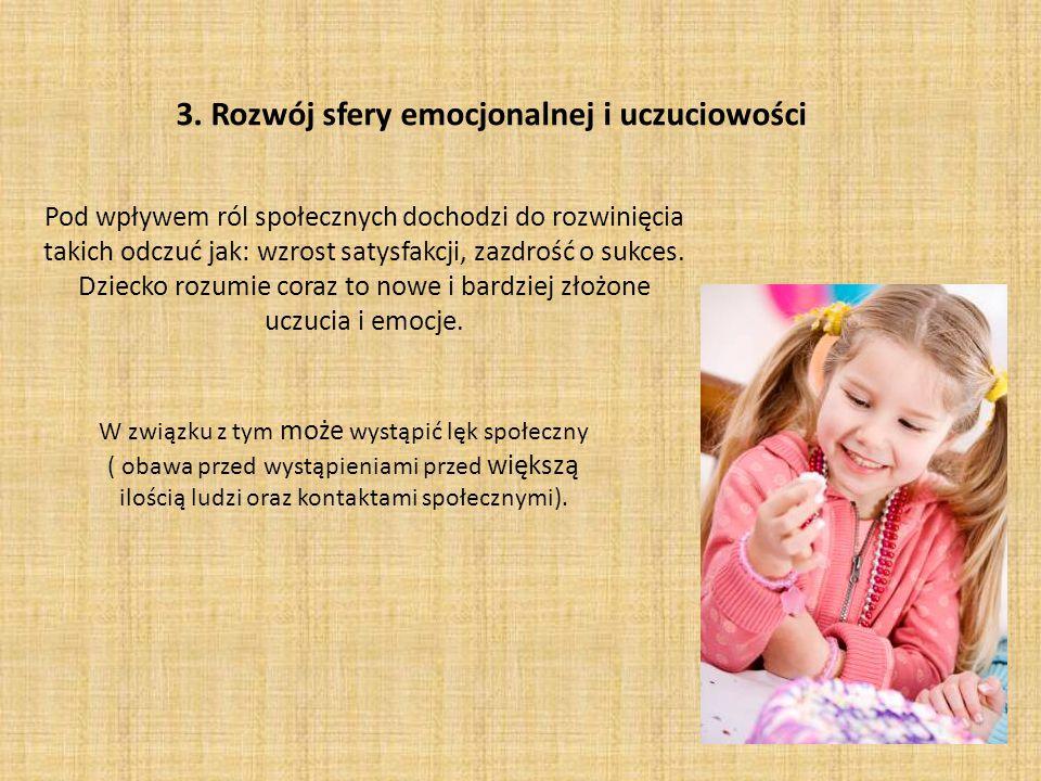 3. Rozwój sfery emocjonalnej i uczuciowości Pod wpływem ról społecznych dochodzi do rozwinięcia takich odczuć jak: wzrost satysfakcji, zazdrość o sukc