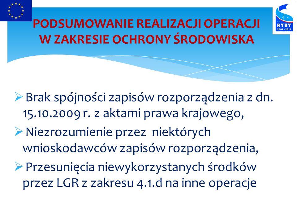  Brak spójności zapisów rozporządzenia z dn.15.10.2009 r.