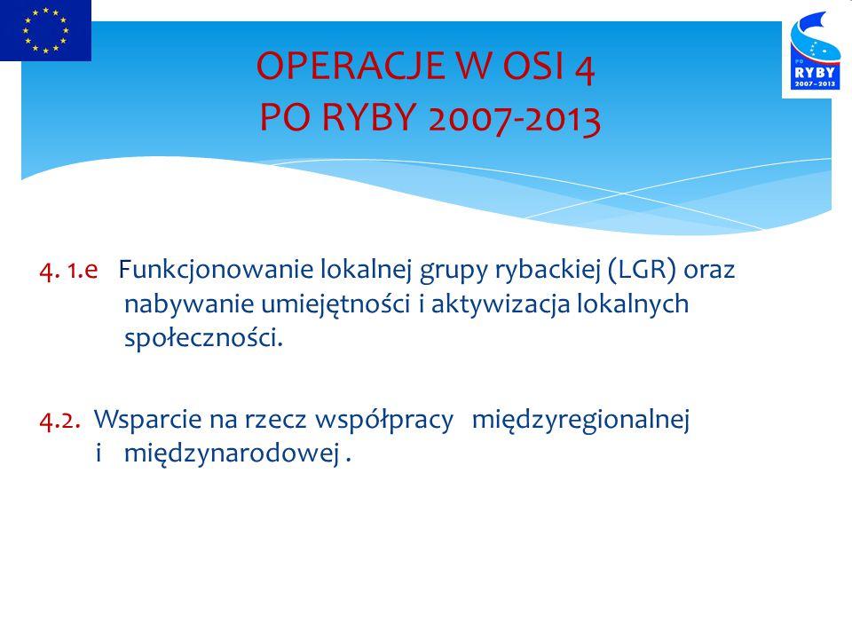 4. 1.e Funkcjonowanie lokalnej grupy rybackiej (LGR) oraz nabywanie umiejętności i aktywizacja lokalnych społeczności. 4.2. Wsparcie na rzecz współpra