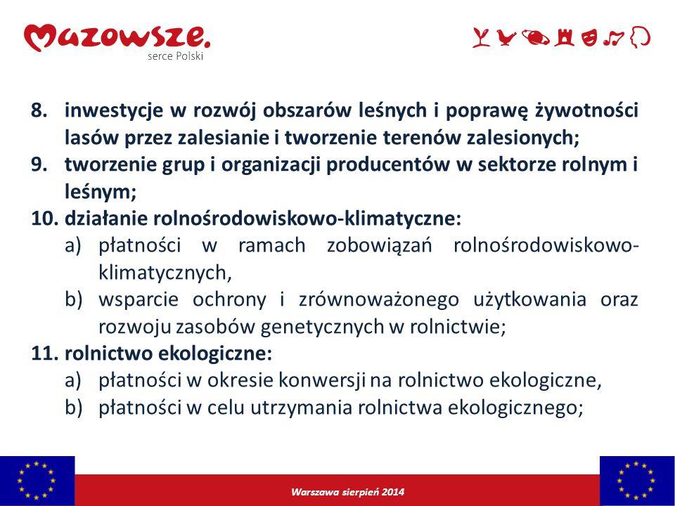 Warszawa sierpień 2014 8.inwestycje w rozwój obszarów leśnych i poprawę żywotności lasów przez zalesianie i tworzenie terenów zalesionych; 9.tworzenie