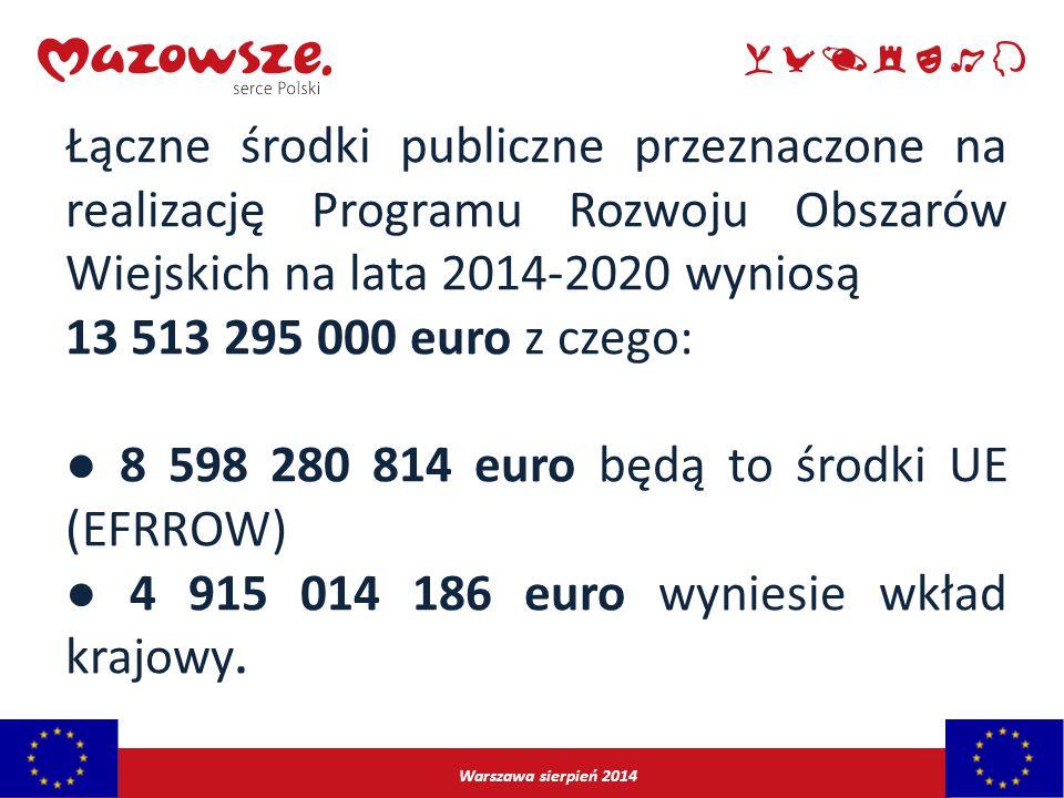 Warszawa sierpień 2014 Łączne środki publiczne przeznaczone na realizację Programu Rozwoju Obszarów Wiejskich na lata 2014-2020 wyniosą 13 513 295 000