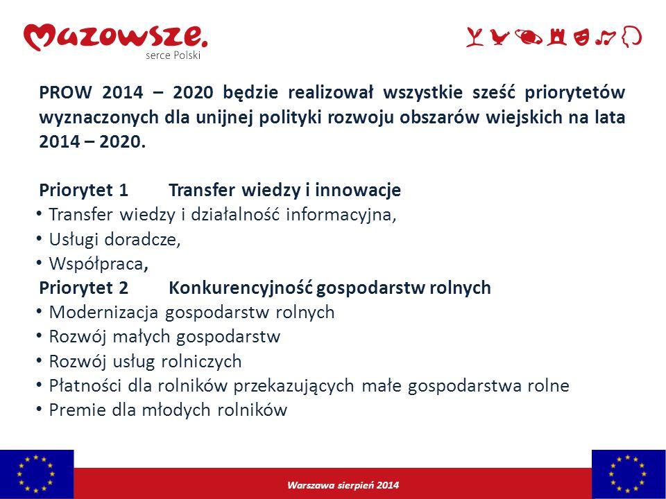 Warszawa sierpień 2014 PROW 2014 – 2020 będzie realizował wszystkie sześć priorytetów wyznaczonych dla unijnej polityki rozwoju obszarów wiejskich na