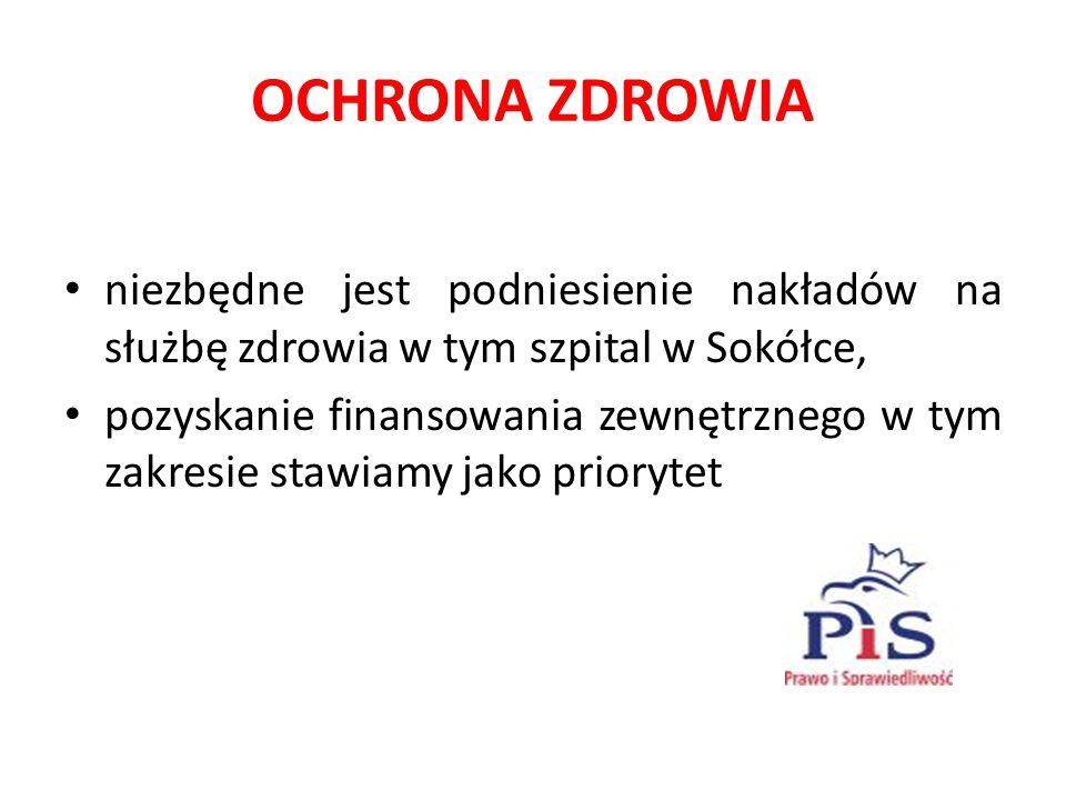 OCHRONA ZDROWIA niezbędne jest podniesienie nakładów na służbę zdrowia w tym szpital w Sokółce, pozyskanie finansowania zewnętrznego w tym zakresie stawiamy jako priorytet