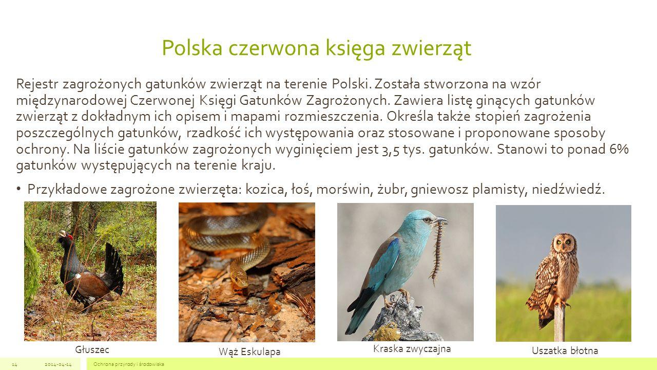 Polska czerwona księga zwierząt Rejestr zagrożonych gatunków zwierząt na terenie Polski.
