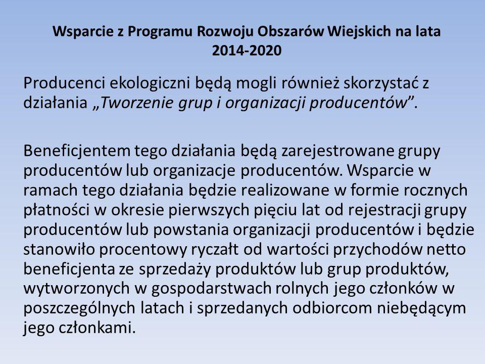 """Wsparcie z Programu Rozwoju Obszarów Wiejskich na lata 2014-2020 Producenci ekologiczni będą mogli również skorzystać z działania """"Tworzenie grup i organizacji producentów ."""