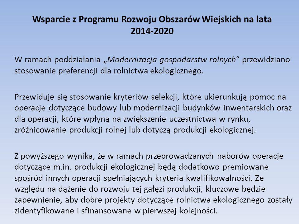 """Wsparcie z Programu Rozwoju Obszarów Wiejskich na lata 2014-2020 W ramach poddziałania """"Modernizacja gospodarstw rolnych przewidziano stosowanie preferencji dla rolnictwa ekologicznego."""