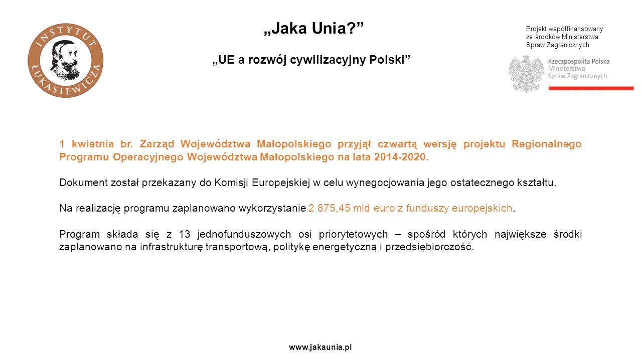 """Projekt współfinansowany ze środków Ministerstwa Spraw Zagranicznych www.jakaunia.pl """"Jaka Unia?"""" """"UE a rozwój cywilizacyjny Polski"""" 1 kwietnia br. Za"""