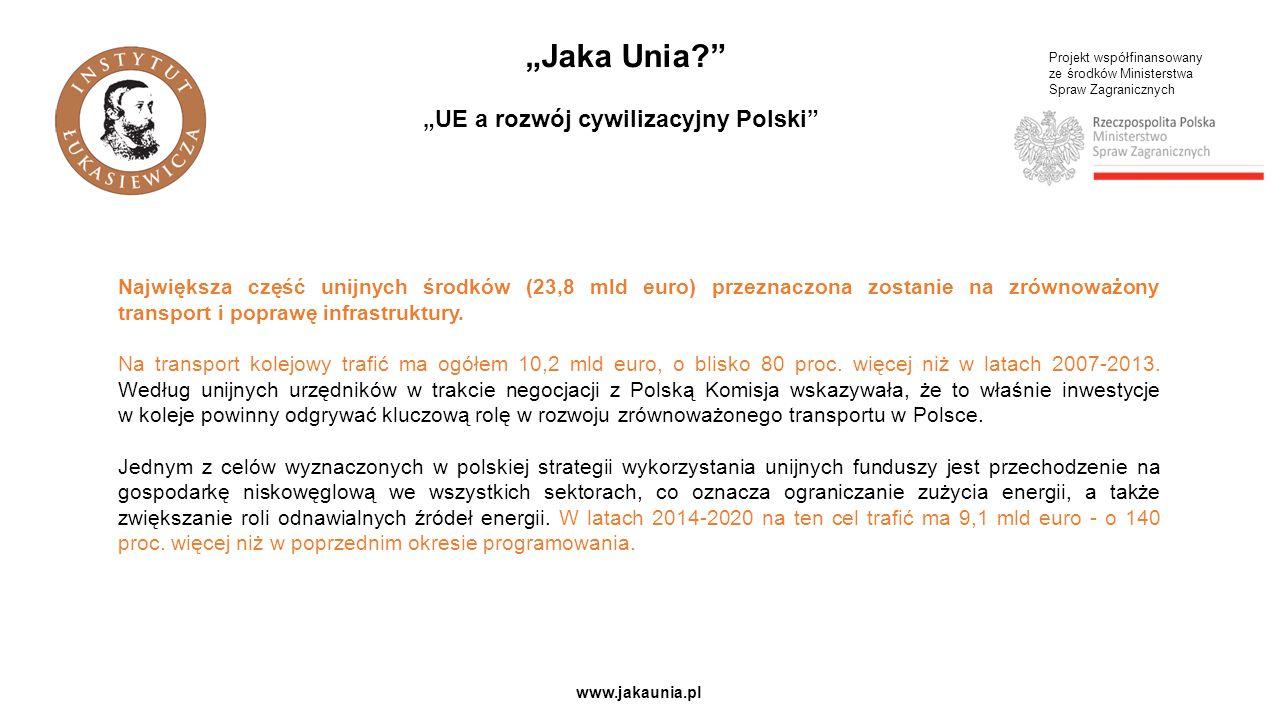 """Projekt współfinansowany ze środków Ministerstwa Spraw Zagranicznych www.jakaunia.pl """"Jaka Unia """"UE a rozwój cywilizacyjny Polski Największa część unijnych środków (23,8 mld euro) przeznaczona zostanie na zrównoważony transport i poprawę infrastruktury."""