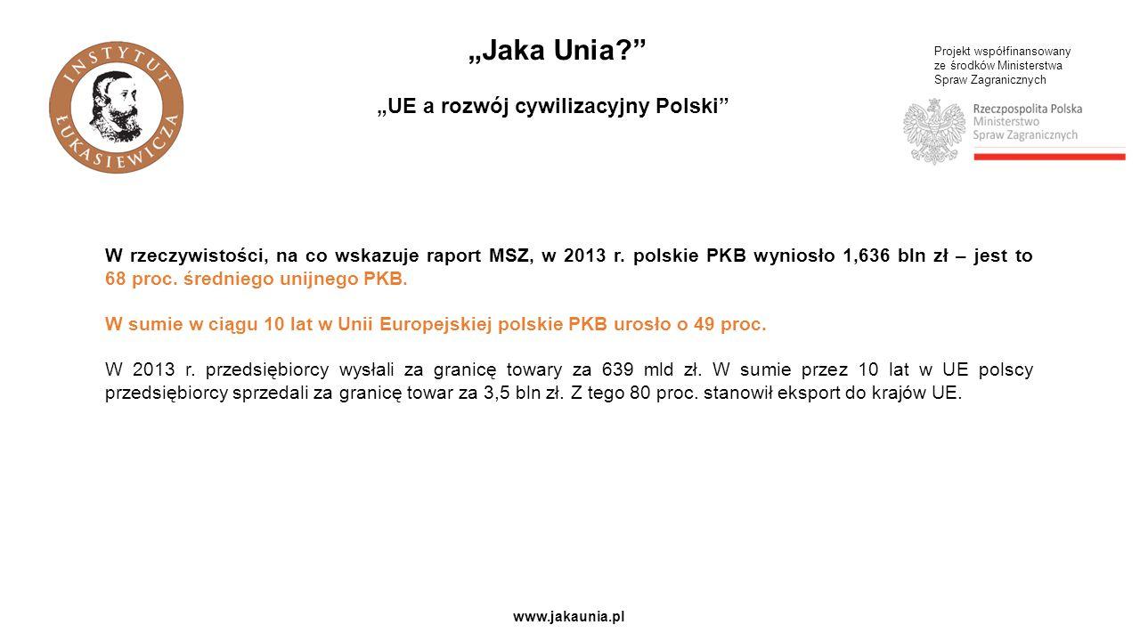 """Projekt współfinansowany ze środków Ministerstwa Spraw Zagranicznych www.jakaunia.pl """"Jaka Unia """"UE a rozwój cywilizacyjny Polski W rzeczywistości, na co wskazuje raport MSZ, w 2013 r."""