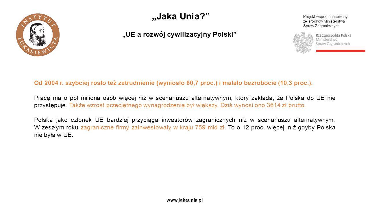 """Projekt współfinansowany ze środków Ministerstwa Spraw Zagranicznych www.jakaunia.pl """"Jaka Unia?"""" """"UE a rozwój cywilizacyjny Polski"""" Od 2004 r. szybci"""