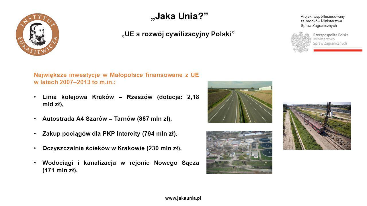 """Projekt współfinansowany ze środków Ministerstwa Spraw Zagranicznych www.jakaunia.pl """"Jaka Unia?"""" """"UE a rozwój cywilizacyjny Polski"""" Największe inwest"""