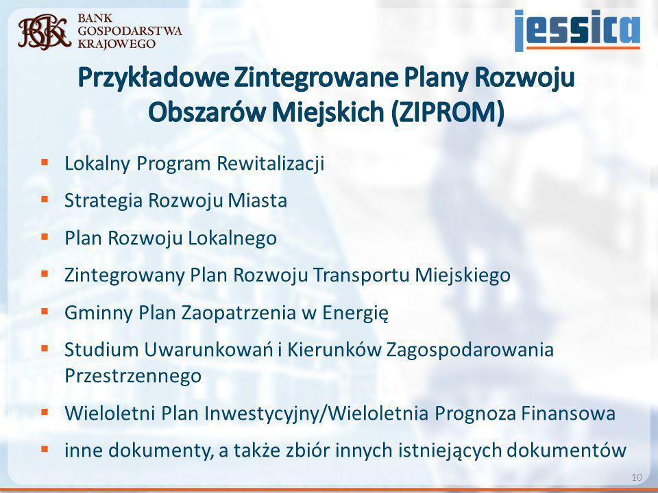  Lokalny Program Rewitalizacji  Strategia Rozwoju Miasta  Plan Rozwoju Lokalnego  Zintegrowany Plan Rozwoju Transportu Miejskiego  Gminny Plan Za