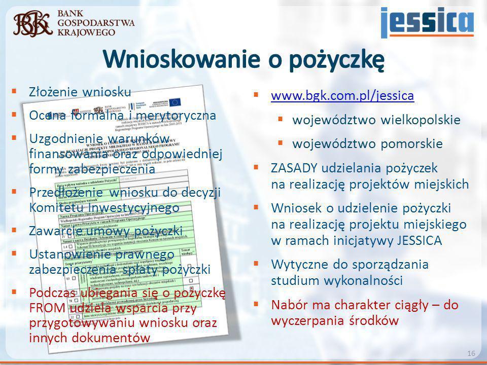  www.bgk.com.pl/jessica www.bgk.com.pl/jessica  województwo wielkopolskie  województwo pomorskie  ZASADY udzielania pożyczek na realizację projekt