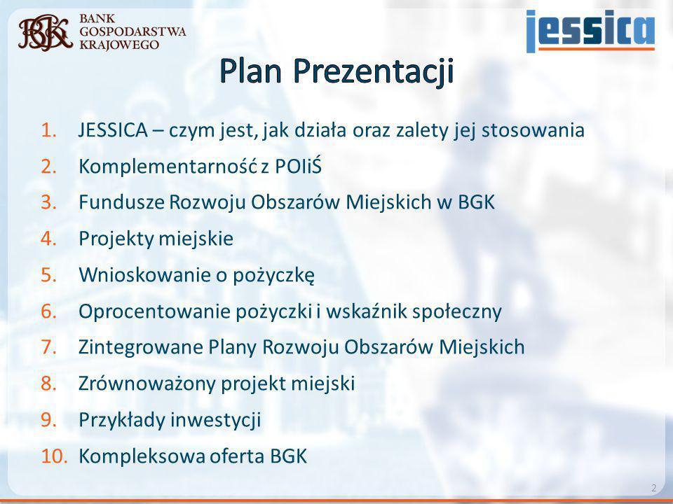 1.JESSICA – czym jest, jak działa oraz zalety jej stosowania 2.Komplementarność z POIiŚ 3.Fundusze Rozwoju Obszarów Miejskich w BGK 4.Projekty miejski