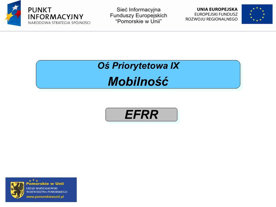 Oś Priorytetowa IX Mobilność Oś Priorytetowa IX Mobilność EFRR