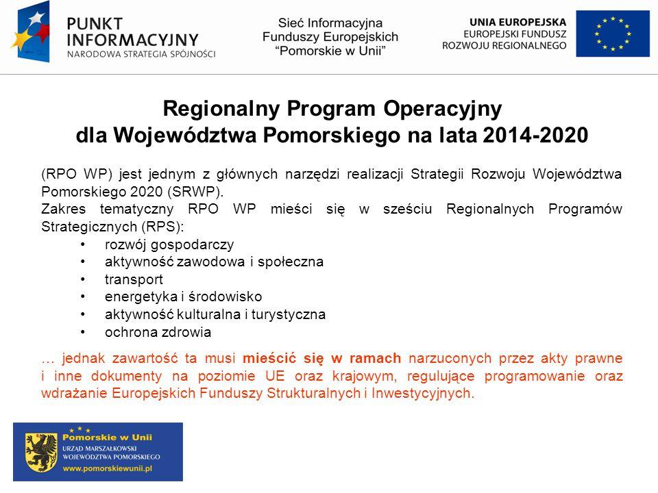 Regionalny Program Operacyjny dla Województwa Pomorskiego na lata 2014-2020 (RPO WP) jest jednym z głównych narzędzi realizacji Strategii Rozwoju Woje