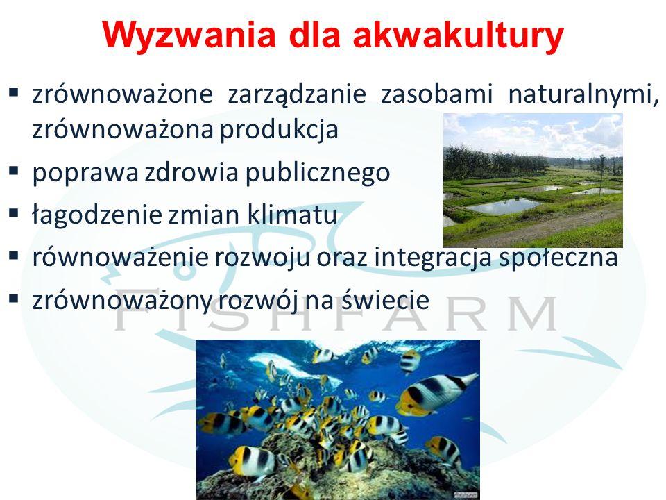 Wyzwania dla akwakultury  zrównoważone zarządzanie zasobami naturalnymi, zrównoważona produkcja  poprawa zdrowia publicznego  łagodzenie zmian klimatu  równoważenie rozwoju oraz integracja społeczna  zrównoważony rozwój na świecie