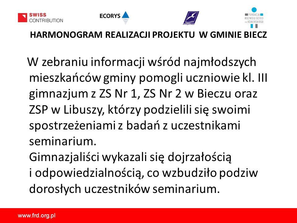 www.frd.org.pl HARMONOGRAM REALIZACJI PROJEKTU W GMINIE BIECZ W zebraniu informacji wśród najmłodszych mieszkańców gminy pomogli uczniowie kl.