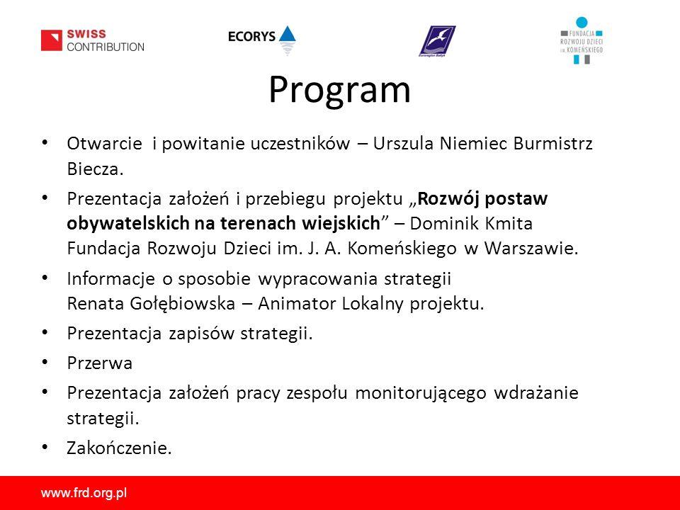 www.frd.org.pl Program Otwarcie i powitanie uczestników – Urszula Niemiec Burmistrz Biecza.