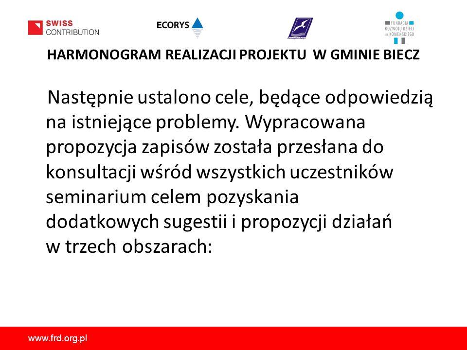 www.frd.org.pl HARMONOGRAM REALIZACJI PROJEKTU W GMINIE BIECZ Następnie ustalono cele, będące odpowiedzią na istniejące problemy.