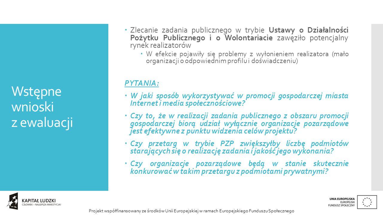 Projekt współfinansowany ze środków Unii Europejskiej w ramach Europejskiego Funduszu Społecznego Wstępne wnioski z ewaluacji  Zlecanie zadania publicznego w trybie Ustawy o Działalności Pożytku Publicznego i o Wolontariacie zawęziło potencjalny rynek realizatorów  W efekcie pojawiły się problemy z wyłonieniem realizatora (mało organizacji o odpowiednim profilu i doświadczeniu) PYTANIA:  W jaki sposób wykorzystywać w promocji gospodarczej miasta Internet i media społecznościowe.