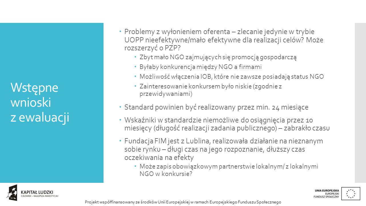 Projekt współfinansowany ze środków Unii Europejskiej w ramach Europejskiego Funduszu Społecznego Wstępne wnioski z ewaluacji  Problemy z wyłonieniem oferenta – zlecanie jedynie w trybie UOPP nieefektywne/mało efektywne dla realizacji celów.