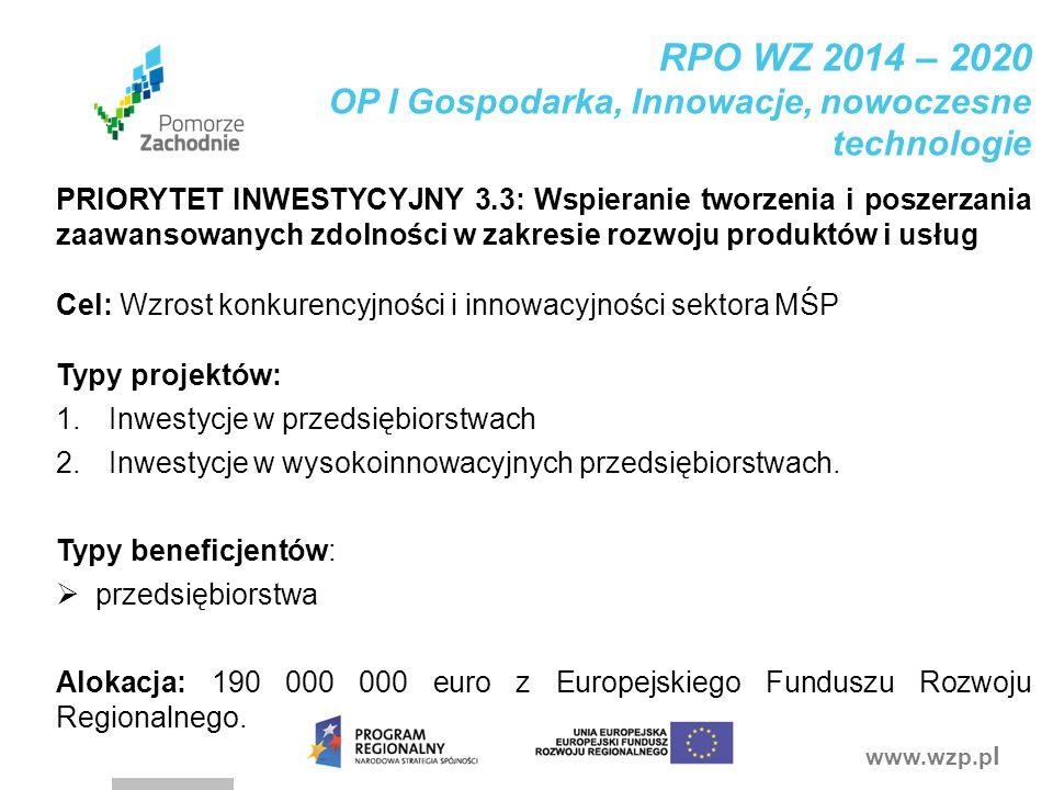 www.wzp.p l RPO WZ 2014 – 2020 OP I Gospodarka, Innowacje, nowoczesne technologie PRIORYTET INWESTYCYJNY 3.3: Wspieranie tworzenia i poszerzania zaawa