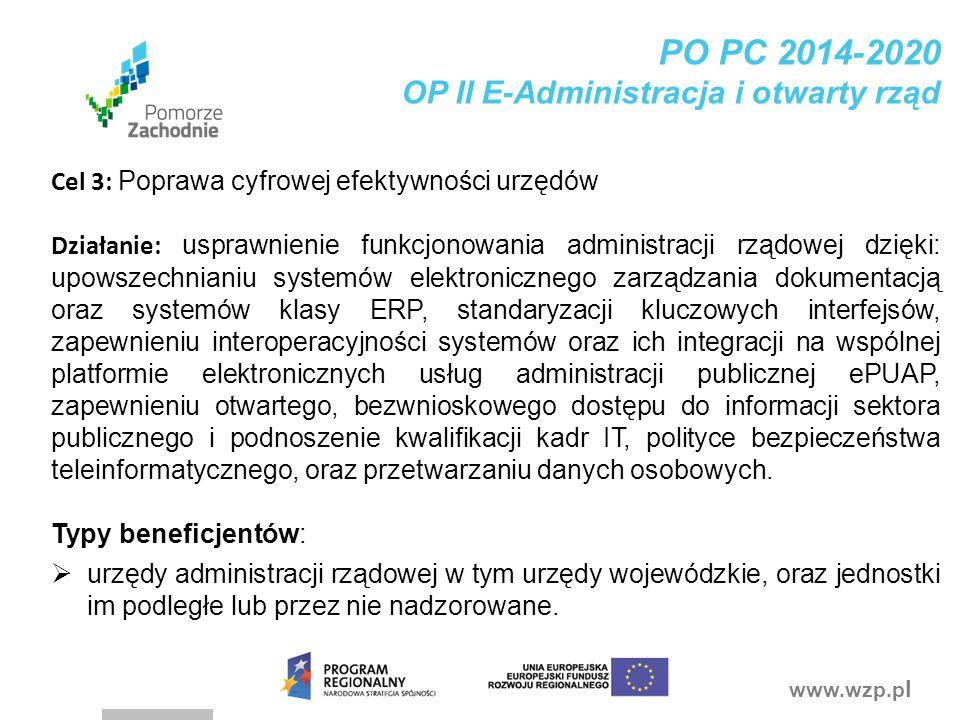 www.wzp.p l PO PC 2014-2020 OP II E-Administracja i otwarty rząd Cel 3: Poprawa cyfrowej efektywności urzędów Działanie: usprawnienie funkcjonowania a