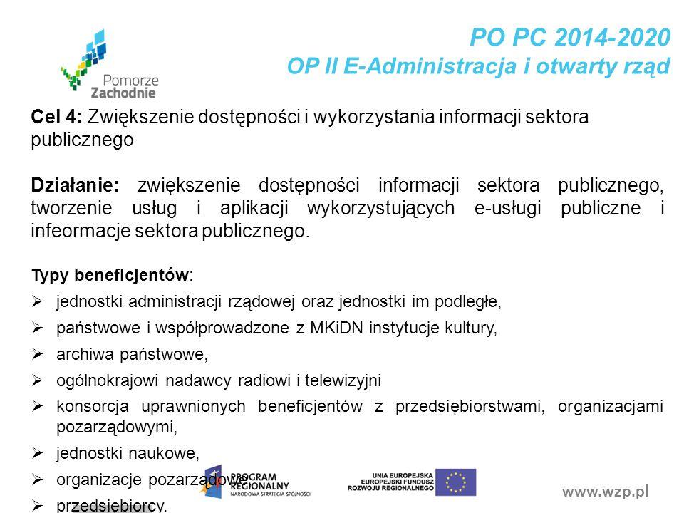 www.wzp.p l PO PC 2014-2020 OP II E-Administracja i otwarty rząd Cel 4: Zwiększenie dostępności i wykorzystania informacji sektora publicznego Działan