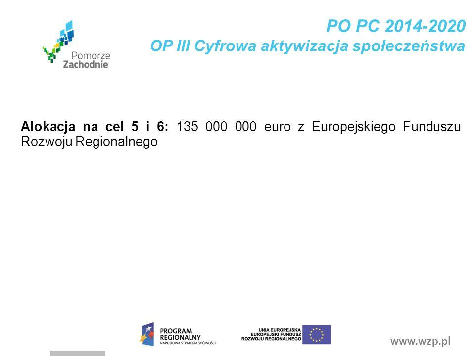 www.wzp.p l PO PC 2014-2020 OP III Cyfrowa aktywizacja społeczeństwa Alokacja na cel 5 i 6: 135 000 000 euro z Europejskiego Funduszu Rozwoju Regional