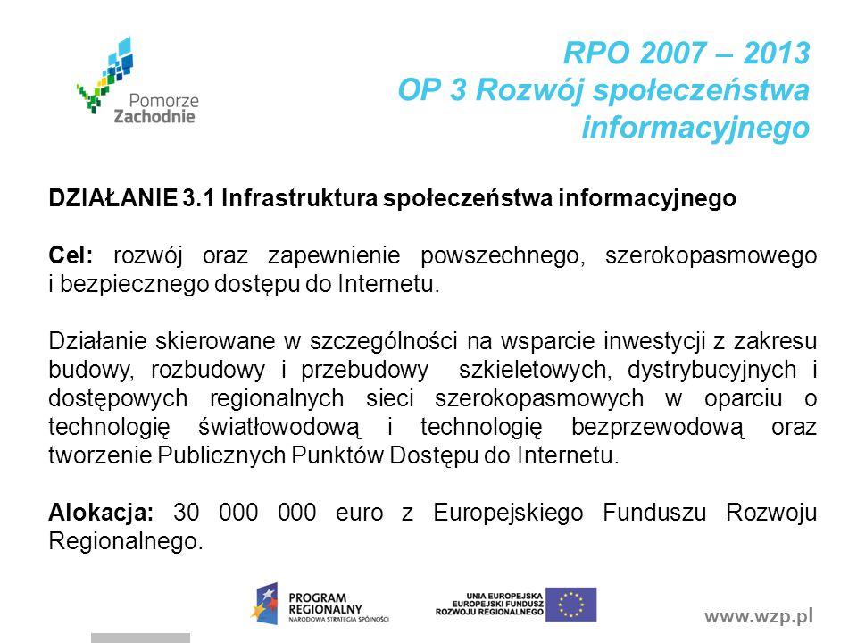 www.wzp.p l DZIAŁANIE 3.1 Infrastruktura społeczeństwa informacyjnego Cel: rozwój oraz zapewnienie powszechnego, szerokopasmowego i bezpiecznego dostę