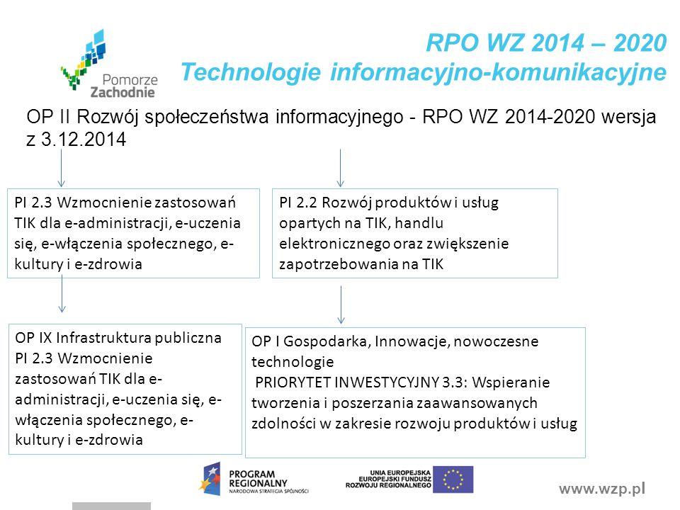 www.wzp.p l RPO WZ 2014 – 2020 Technologie informacyjno-komunikacyjne OP II Rozwój społeczeństwa informacyjnego - RPO WZ 2014-2020 wersja z 3.12.2014