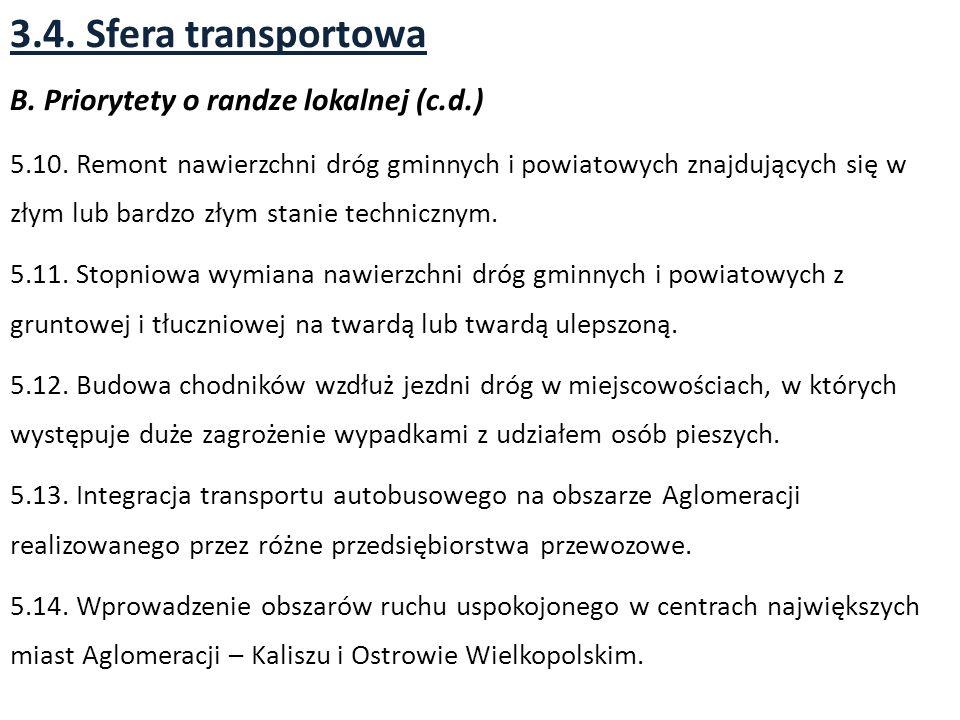 3.4.Sfera transportowa B. Priorytety o randze lokalnej (c.d.) 5.10.