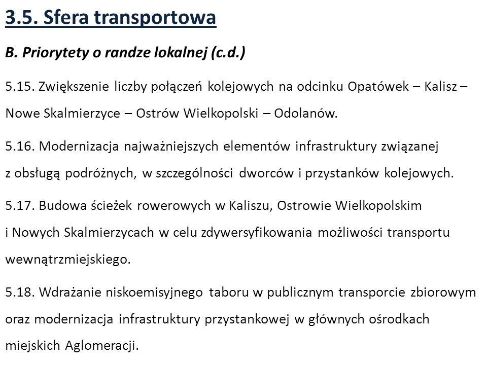 3.5.Sfera transportowa B. Priorytety o randze lokalnej (c.d.) 5.15.
