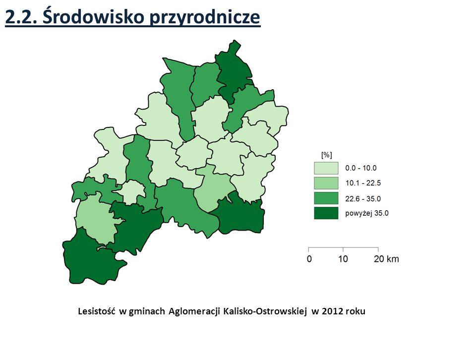 2.2. Środowisko przyrodnicze Lesistość w gminach Aglomeracji Kalisko-Ostrowskiej w 2012 roku