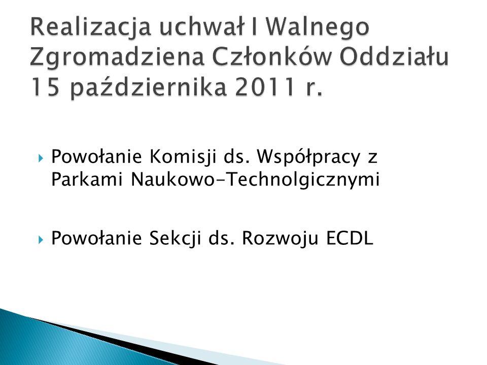  Powołanie Komisji ds. Współpracy z Parkami Naukowo-Technolgicznymi  Powołanie Sekcji ds. Rozwoju ECDL