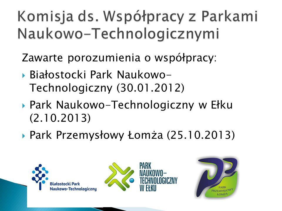 Zawarte porozumienia o współpracy:  Białostocki Park Naukowo- Technologiczny (30.01.2012)  Park Naukowo-Technologiczny w Ełku (2.10.2013)  Park Przemysłowy Łomża (25.10.2013)